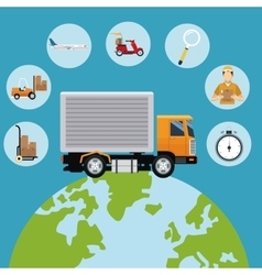 Delivery concept globe truck transport icons vector