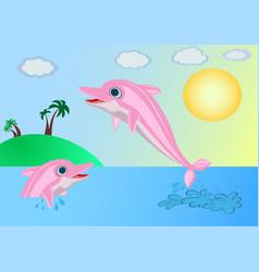 Dolphins near the island vector