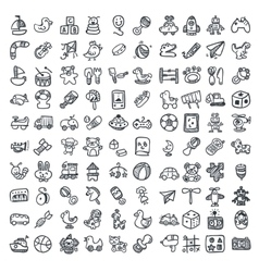 Doodle toys icons set vector