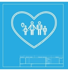 Family sign in heart shape White vector image vector image