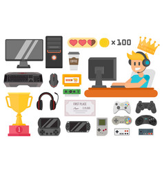 Gaming kiber sport set vector