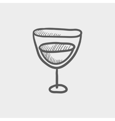 Glass of wine sketch icon vector image