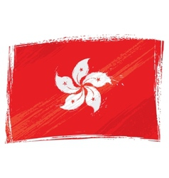 Grunge hong kong flag vector