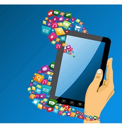 Human hand with tablet pc social media icons vector image