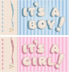 Its a boy and its a girl banners vector image vector image