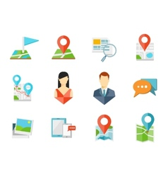 Location flat icons vector image vector image