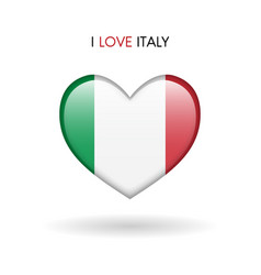 love italy symbol flag heart glossy icon on a vector image