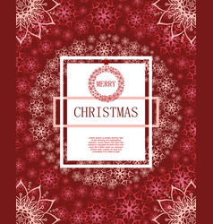 merry christmas on the background of snow and vector image vector image