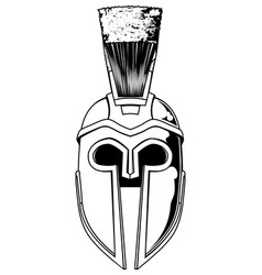 monochrome spartan helmet vector image vector image