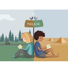 Multicultural girl and boy read mail vector image