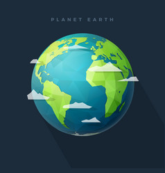 Polygon west earth hemisphere on dark vector