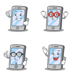 Set of iphone character with pose hero business vector
