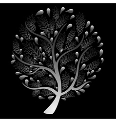 Silver Tree isolated on Black Background vector image vector image