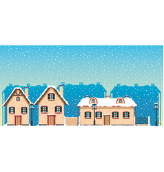 Street of a small winter town vector
