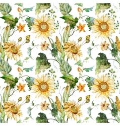 Watercolor sunflower pattern vector image vector image