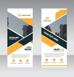 Yellow black business roll up banner flat design vector