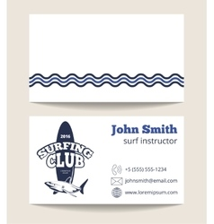 Surfing club business card template with logo vector image