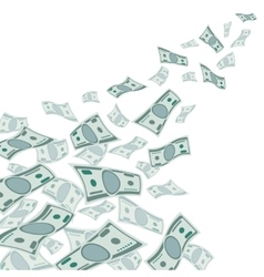Money flow falling dollars currency isolated on vector