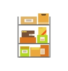 Paper box packages piled in the warehouse stored vector