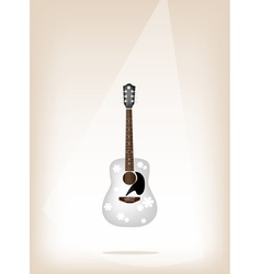 A Beautiful White Guitar on Brown Stage Background vector image