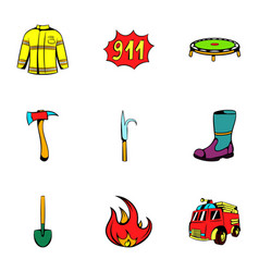 Fire equipment icons set cartoon style vector