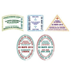 Central america passport stamps vector