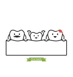 Baby tooth in funny family - first teeth concept vector