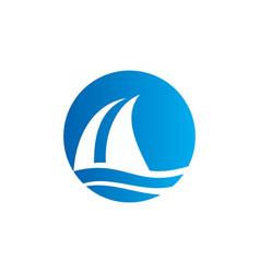 Sail boat water beach travel logo vector
