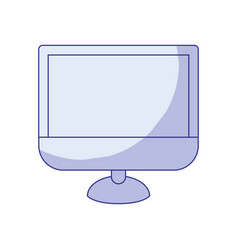 Blue shading silhouette of lcd monitor vector