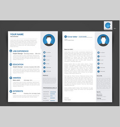 Professional cv resume template of two pages vector