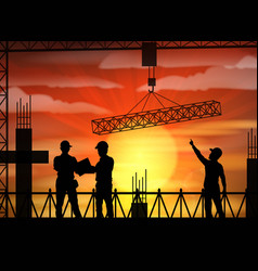 Construction worker silhouette at sunset vector