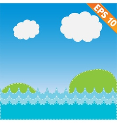 Sea landscape with stitch style background - vector