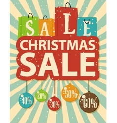 Christmas sale design with shopping bag vector
