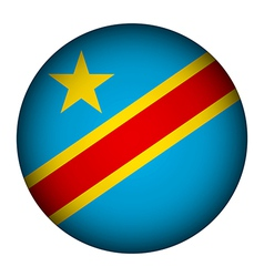 Democratic republic of the congo flag button vector