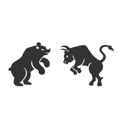Bull and bear financial icons vector