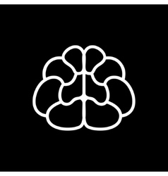 Brain Icon on Black Background vector image