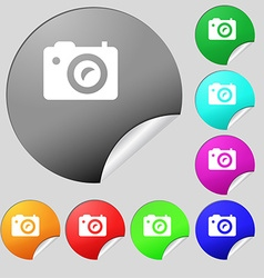 Digital photo camera icon sign set of eight vector