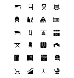 Furniture solid icons 4 vector