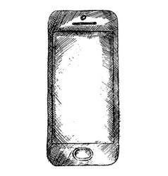 Handdrawn sketch of mobile phone front isolated on vector