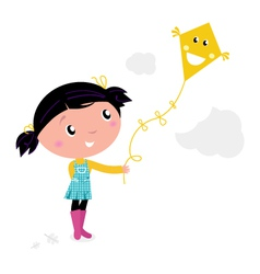 Kid flying a kite vector