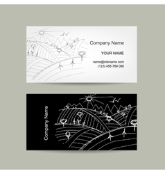 Abstract business card field sketch vector