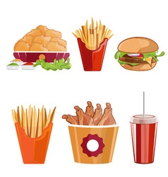 Fried chickenfries and burger fast food vector