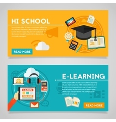 Education and e-learning concept banners vector