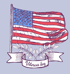 Veterans day poster with american flag vector