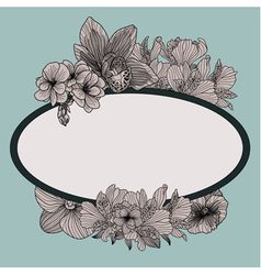 Frame with vintage flowers on teal background vector