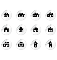 Stickers with house and buildings icons vector image