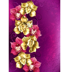 Golden Orchid on a Pink Background vector image