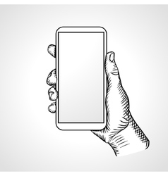 Hand holding mobile front view vector
