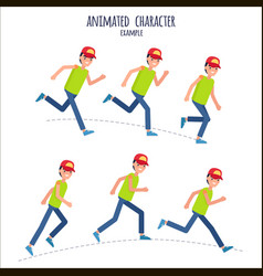 animated character example with boy in motion vector image