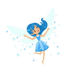 beautiful smiling blue fairy girl flying colorful vector image vector image